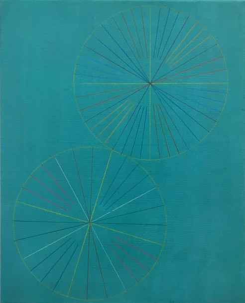 Marta Marce: Tabula Rasa (crayon/ turquoise), 2019