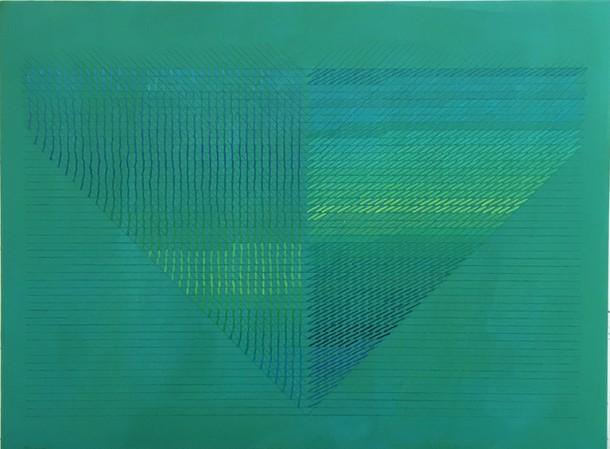 Marta Marce: Tabula Rasa (triangle greens), 2018